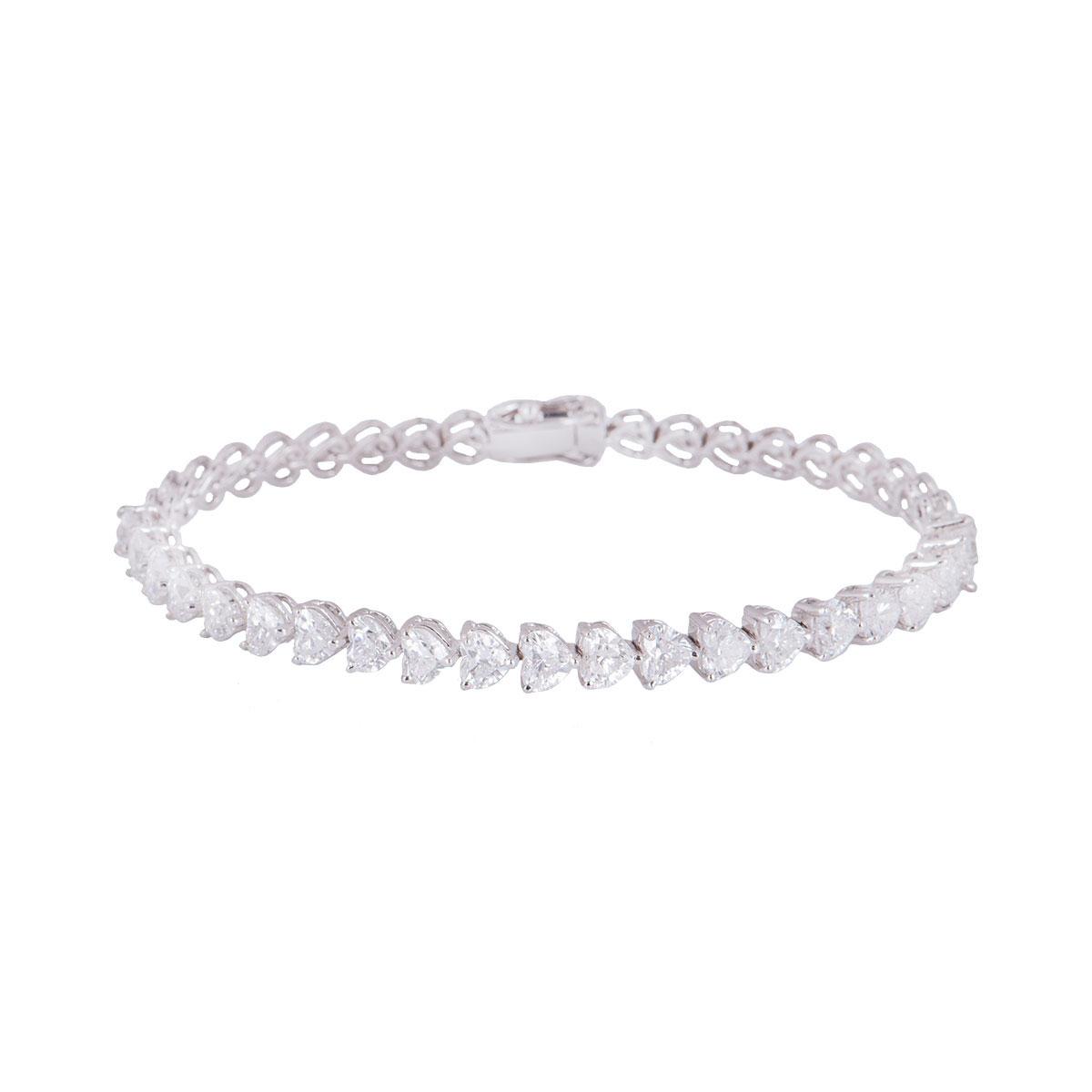 White Gold Heart Cut Diamond Line Bracelet 5.15ct